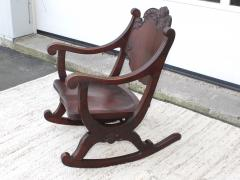 1940s Carved Mahogany Rocking Chair - 1067091