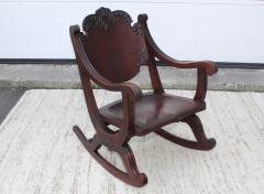 1940s Carved Mahogany Rocking Chair - 1067092