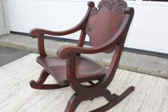 1940s Carved Mahogany Rocking Chair - 1067093