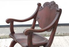 1940s Carved Mahogany Rocking Chair - 1067100