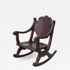 1940s Carved Mahogany Rocking Chair - 1067396