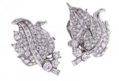 1940s Diamond Leaf Earrings - 1018207