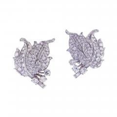 1940s Diamond Leaf Earrings - 1018243