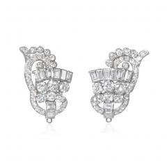 1940s Diamond and Platinum Day to Night Earrings with Removable Pendants - 1658103