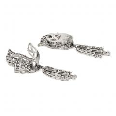 1940s Diamond and Platinum Day to Night Earrings with Removable Pendants - 1658105