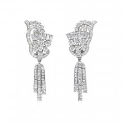 1940s Diamond and Platinum Day to Night Earrings with Removable Pendants - 1659903