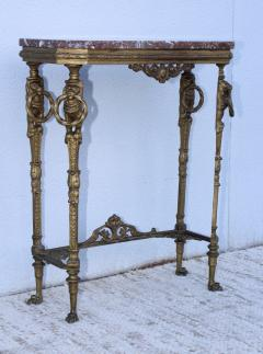 1940s French Bronze And Marble Petite Console - 1898573