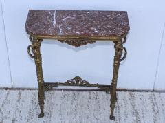 1940s French Bronze And Marble Petite Console - 1898579