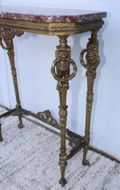 1940s French Bronze And Marble Petite Console - 1898581