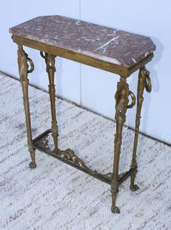 1940s French Bronze And Marble Petite Console - 1898583