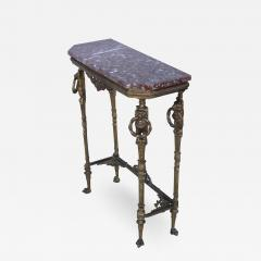 1940s French Bronze And Marble Petite Console - 1899942