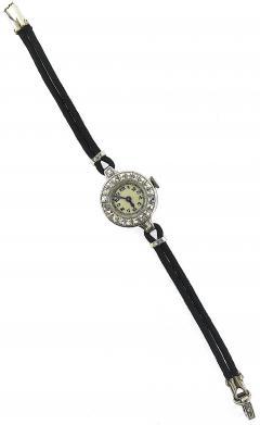 1940s French Cut Diamond Fabric Cord Platinum Watch - 201180