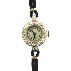 1940s French Cut Diamond Fabric Cord Platinum Watch - 201220