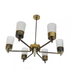 1940s Glass and Brass Chandelier - 1047026