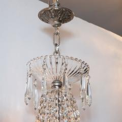 1940s Hollywood Regency Cut Beveled Crystal Chandelier with Silvered Fittings - 1461296
