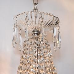 1940s Hollywood Regency Cut Beveled Crystal Chandelier with Silvered Fittings - 1461297