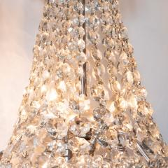 1940s Hollywood Regency Cut Beveled Crystal Chandelier with Silvered Fittings - 1461298