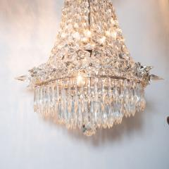 1940s Hollywood Regency Cut Beveled Crystal Chandelier with Silvered Fittings - 1461299