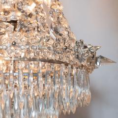 1940s Hollywood Regency Cut Beveled Crystal Chandelier with Silvered Fittings - 1461300