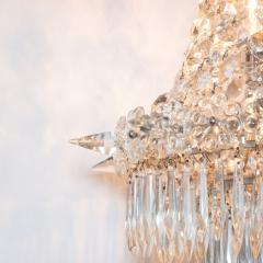 1940s Hollywood Regency Cut Beveled Crystal Chandelier with Silvered Fittings - 1461301