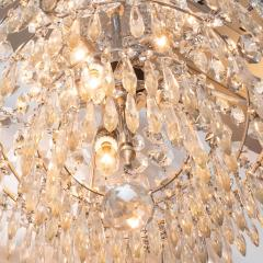 1940s Hollywood Regency Cut Beveled Crystal Chandelier with Silvered Fittings - 1461302