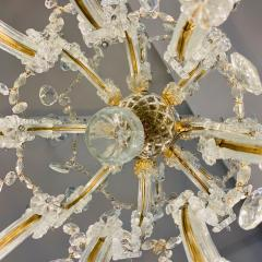 1940s Italian Antique Baroque Revival Crystal 12 Light Gilded Chandelier - 1571138