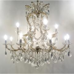 1940s Italian Antique Baroque Revival Crystal 12 Light Gilded Chandelier - 1571140