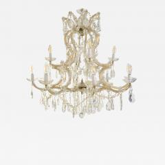 1940s Italian Antique Baroque Revival Crystal 12 Light Gilded Chandelier - 1573762