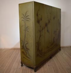 1940s Italian Four Doors Green Chinoiserie Lacquered Cupboard - 639177