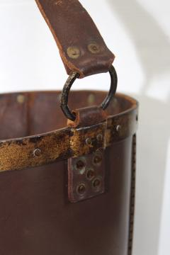 1940s Leather Waste Basket From Spain - 1689418