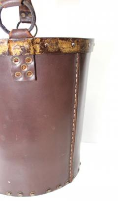 1940s Leather Waste Basket From Spain - 1689420