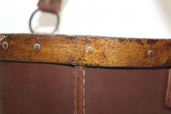 1940s Leather Waste Basket From Spain - 1689422