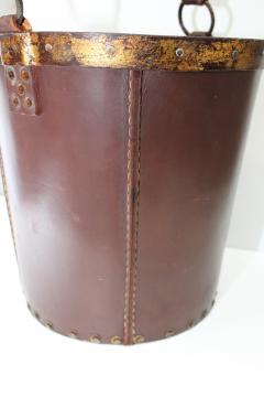 1940s Leather Waste Basket From Spain - 1689423