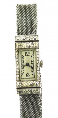 1940s Platinum Mesh Bracelet Watch French Cut Diamonds - 201201