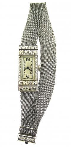 1940s Platinum Mesh Bracelet Watch French Cut Diamonds - 201205