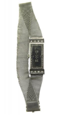 1940s Platinum Mesh Bracelet Watch French Cut Diamonds - 201208