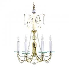 1940s Rock Crystal Spheres and Brass Chandelier - 72658