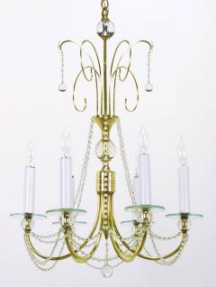 1940s Rock Crystal Spheres and Brass Chandelier - 72659