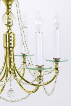 1940s Rock Crystal Spheres and Brass Chandelier - 72660