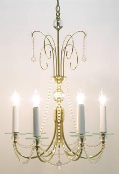 1940s Rock Crystal Spheres and Brass Chandelier - 72661