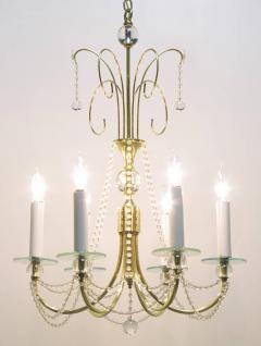 1940s Rock Crystal Spheres and Brass Chandelier - 72662