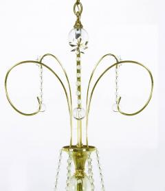 1940s Rock Crystal Spheres and Brass Chandelier - 72664