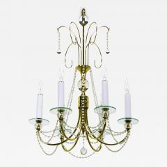 1940s Rock Crystal Spheres and Brass Chandelier - 73311
