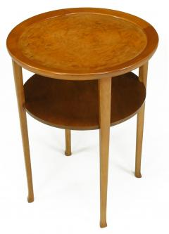 1940s Round Two Tier Maple Side Table With Buffalo Leather Inlay   52613