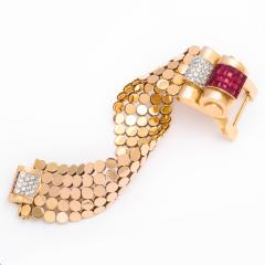 1940s Ruby Diamond and Gold Bracelet by Mauboussin - 1180344