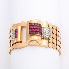 1940s Ruby Diamond and Gold Bracelet by Mauboussin - 1180346