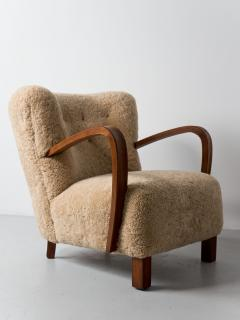 1940s Swedish Lounge Chair in Shearling - 1879097