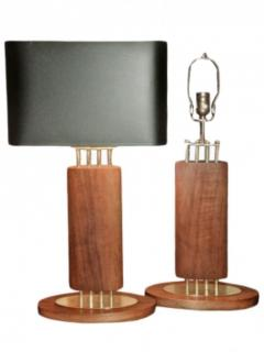 1940s Wood and Brass Lamps - 1704606