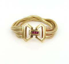 1940s pink gold and ruby snake necklace and bracelet - 1149190