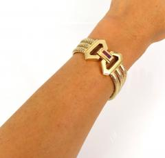 1940s pink gold and ruby snake necklace and bracelet - 1149193